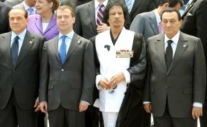 Gheddafi, Mubarak, Medvedev e Berlusconi al g8 dell'Aquila