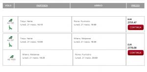 Costo del volo Tokyo - Roma