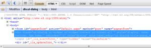 html di un form asp.net con un jquery dialog aperto