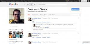 Google Plus: pagina profilo di Francesco Biacca