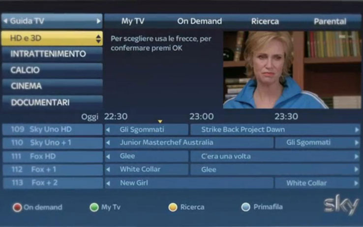 MySky HD nuova interfaccia grafica